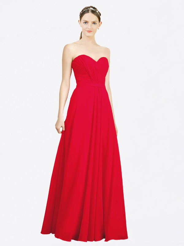 Mila Queen Jazlynn Bridesmaid Dress Red - A-Line Sweetheart Long Bridesmaid Gown Jazlynn in Red