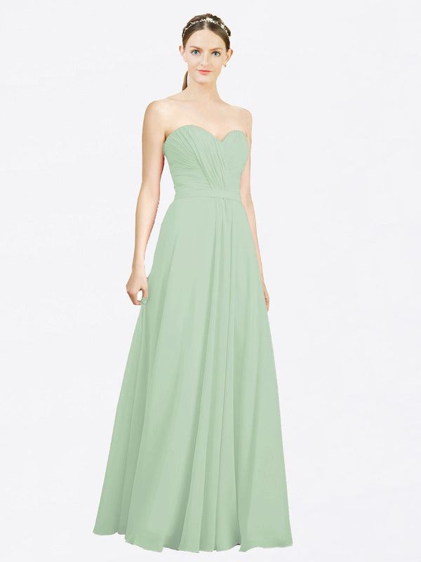 Mila Queen Jazlynn Bridesmaid Dress Sage - A-Line Sweetheart Long Bridesmaid Gown Jazlynn in Sage