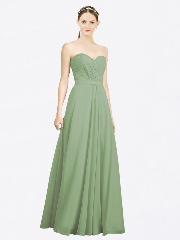 Mila Queen Jazlynn Bridesmaid Dress Seagrass - A-Line Sweetheart Long Bridesmaid Gown Jazlynn in Seagrass