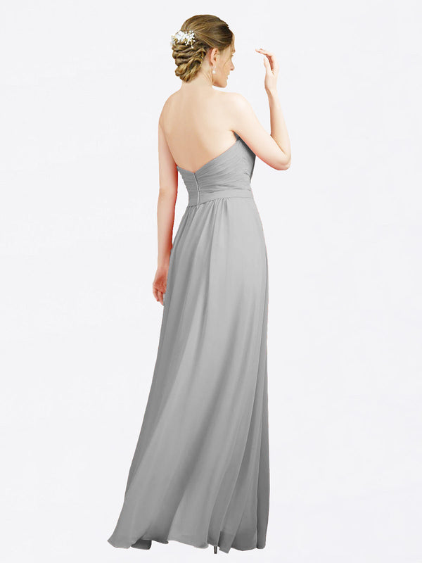 Mila Queen Jazlynn Bridesmaid Dress in Silver - A-Line Sweetheart Long Bridesmaid Gown Jazlynn in Silver