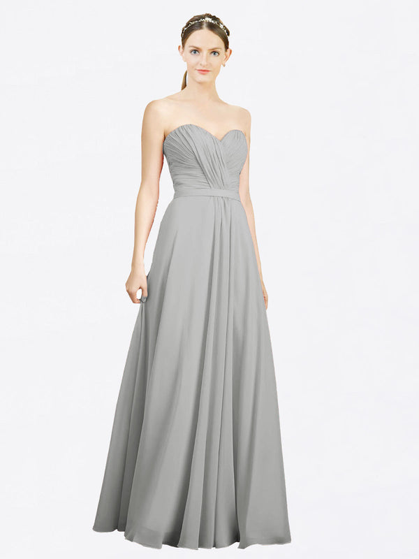 Mila Queen Jazlynn Bridesmaid Dress Silver - A-Line Sweetheart Long Bridesmaid Gown Jazlynn in Silver