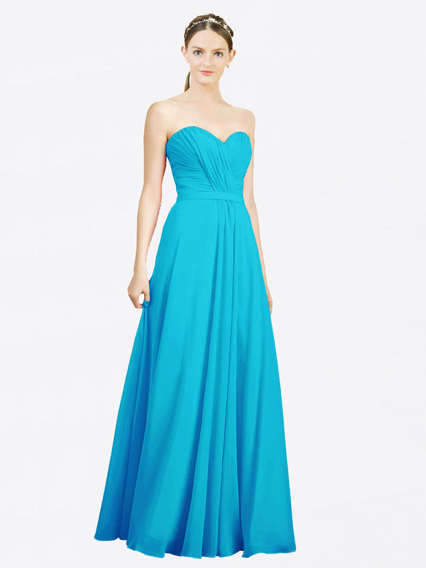 Mila Queen Jazlynn Bridesmaid Dress Turquoise - A-Line Sweetheart Long Bridesmaid Gown Jazlynn in Turquoise