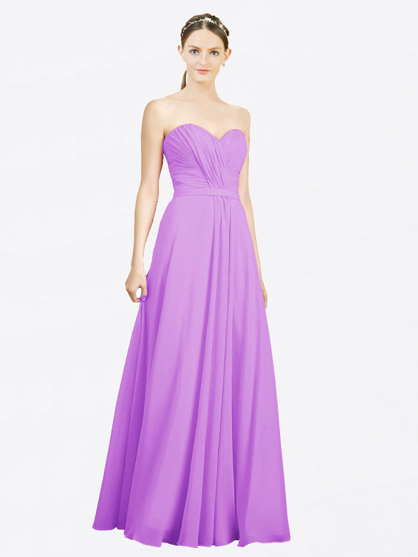 Mila Queen Jazlynn Bridesmaid Dress Violet - A-Line Sweetheart Long Bridesmaid Gown Jazlynn in Violet
