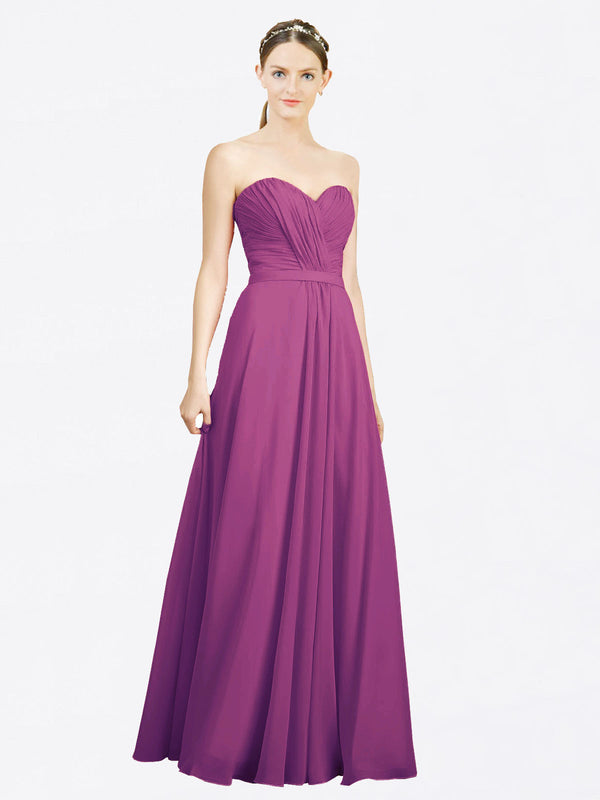 Mila Queen Jazlynn Bridesmaid Dress Wild Berry - A-Line Sweetheart Long Bridesmaid Gown Jazlynn in Wild Berry