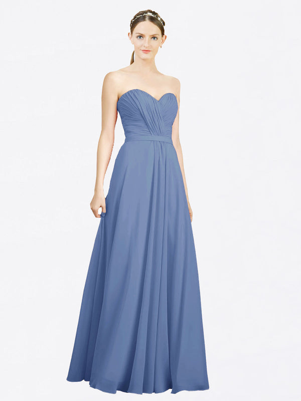 Mila Queen Jazlynn Bridesmaid Dress Windsor Blue - A-Line Sweetheart Long Bridesmaid Gown Jazlynn in Windsor Blue