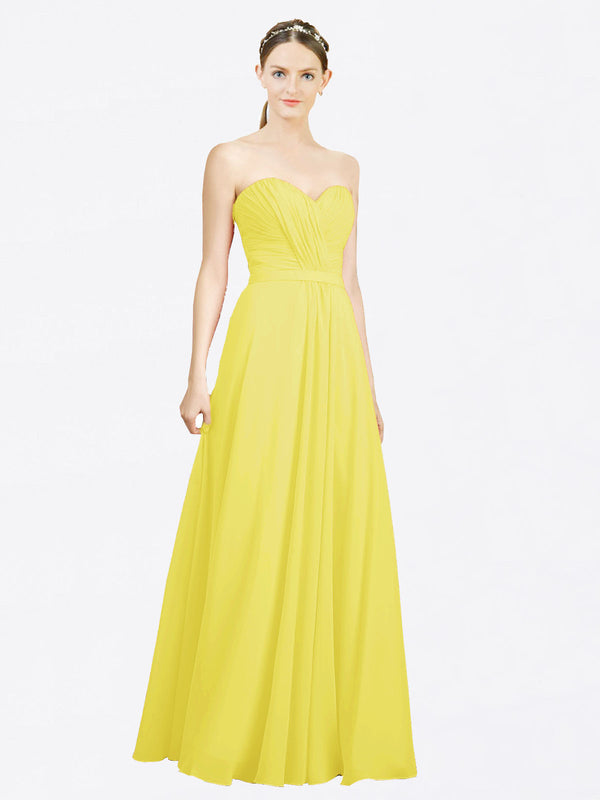 Mila Queen Jazlynn Bridesmaid Dress Yellow - A-Line Sweetheart Long Bridesmaid Gown Jazlynn in Yellow