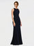 Dark Navy Sheath High Neck, Scoop Sleeveless Long Crepe Bridesmaid Dress Mylah