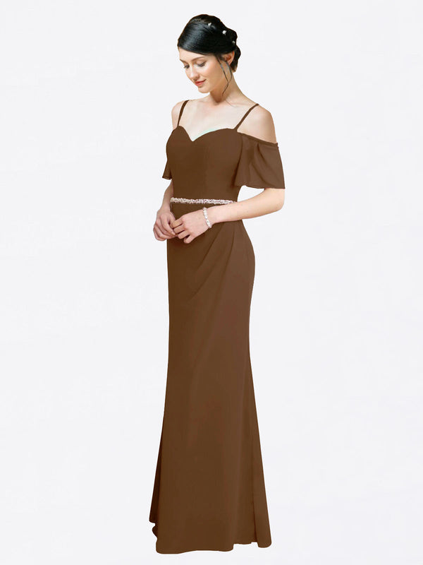 Mila Queen Kaley Bridesmaid Dress Brown - A-Line Sweetheart Long Bridesmaid Gown Kaley in Brown