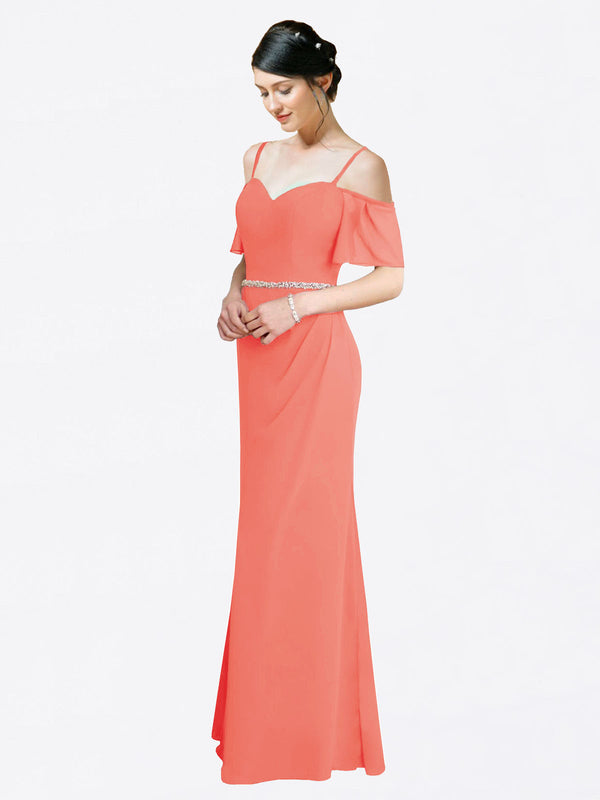 Mila Queen Kaley Bridesmaid Dress Coral - A-Line Sweetheart Long Bridesmaid Gown Kaley in Coral