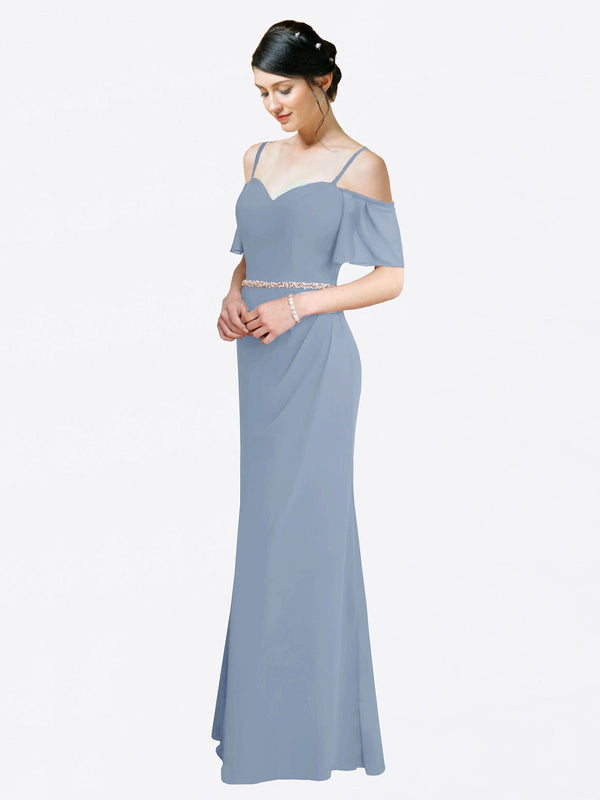 Mila Queen Kaley Bridesmaid Dress Dusty Blue - A-Line Sweetheart Long Bridesmaid Gown Kaley in Dusty Blue
