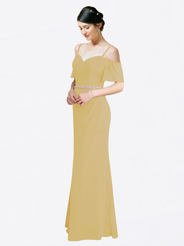 Mila Queen Kaley Bridesmaid Dress Gold - A-Line Sweetheart Long Bridesmaid Gown Kaley in Gold