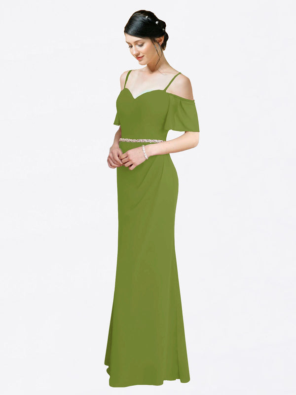 Mila Queen Kaley Bridesmaid Dress Olive Green - A-Line Sweetheart Long Bridesmaid Gown Kaley in Olive Green
