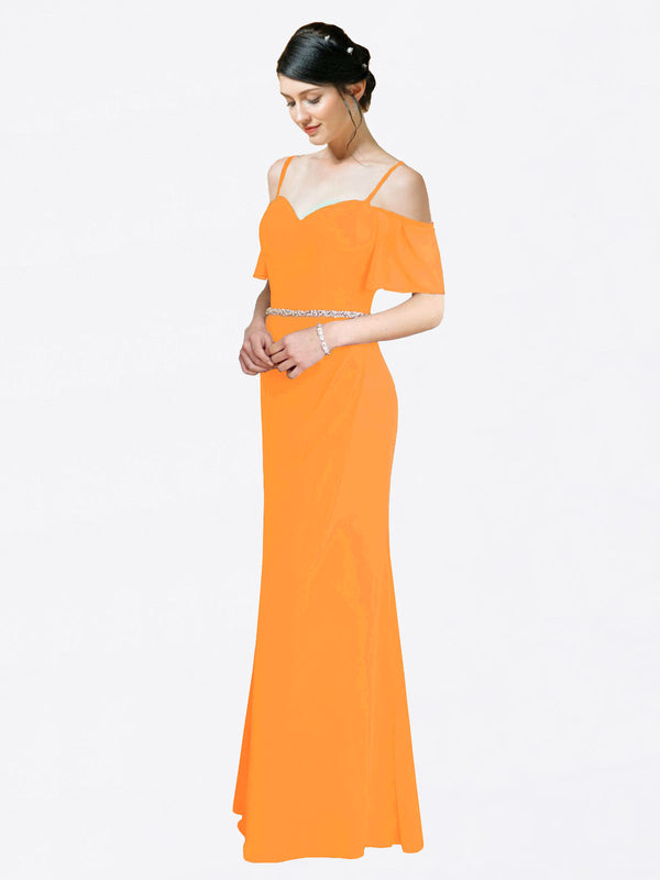 Mila Queen Kaley Bridesmaid Dress Orange - A-Line Sweetheart Long Bridesmaid Gown Kaley in Orange