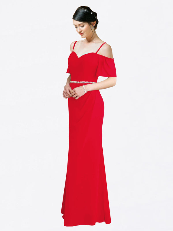 Mila Queen Kaley Bridesmaid Dress Red - A-Line Sweetheart Long Bridesmaid Gown Kaley in Red
