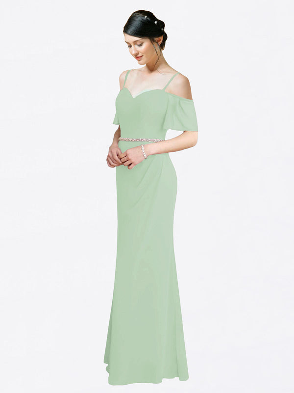 Mila Queen Kaley Bridesmaid Dress Sage - A-Line Sweetheart Long Bridesmaid Gown Kaley in Sage