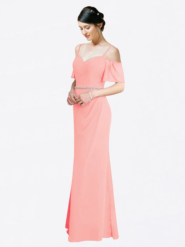 Mila Queen Kaley Bridesmaid Dress Salmon - A-Line Sweetheart Long Bridesmaid Gown Kaley in Salmon