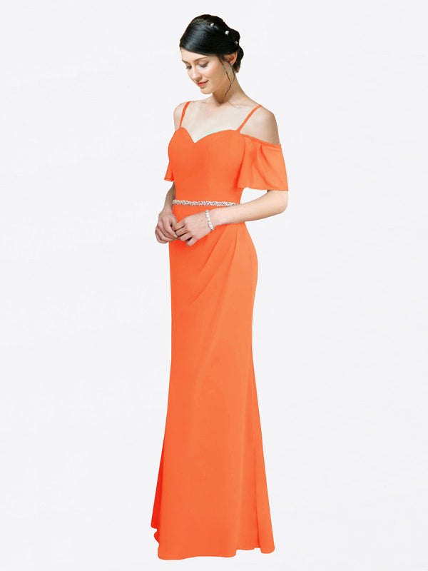 Mila Queen Kaley Bridesmaid Dress Tangerine Tango - A-Line Sweetheart Long Bridesmaid Gown Kaley in Tangerine Tango