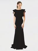 Black Mermaid Sheath Jewel Sleeveless Long Crepe Bridesmaid Dress Kaiya