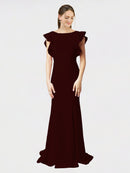 Burgundy Gold Mermaid Sheath Jewel Sleeveless Long Crepe Bridesmaid Dress Kaiya