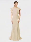 Champagne Mermaid Sheath Jewel Sleeveless Long Crepe Bridesmaid Dress Kaiya