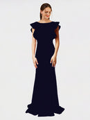 Dark Navy Mermaid Sheath Jewel Sleeveless Long Crepe Bridesmaid Dress Kaiya