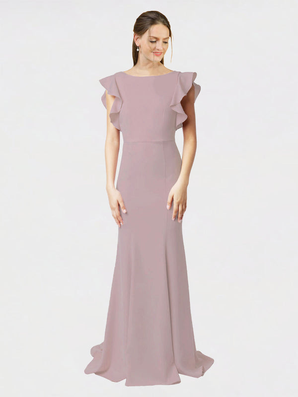 Dusty Pink Mermaid Sheath Jewel Sleeveless Long Crepe Bridesmaid Dress Kaiya