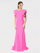 Fuchsia Mermaid Sheath Jewel Sleeveless Long Crepe Bridesmaid Dress Kaiya