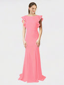 Hot Pink Mermaid Sheath Jewel Sleeveless Long Crepe Bridesmaid Dress Kaiya