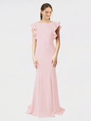 Ice Pink Mermaid Sheath Jewel Sleeveless Long Crepe Bridesmaid Dress Kaiya