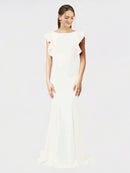 Ivory Mermaid Sheath Jewel Sleeveless Long Crepe Bridesmaid Dress Kaiya