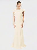 Light Champagne Mermaid Sheath Jewel Sleeveless Long Crepe Bridesmaid Dress Kaiya