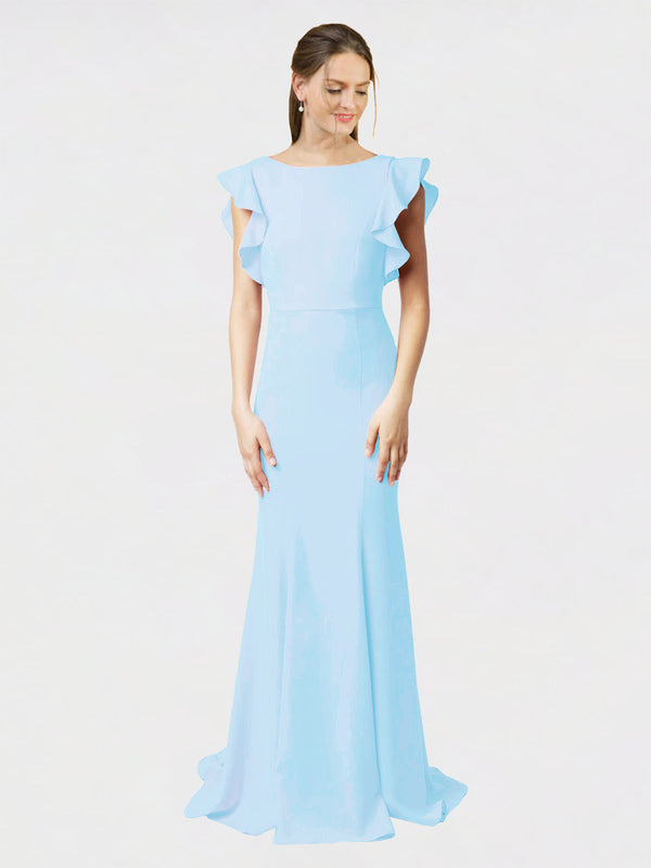 Light Sky Blue Mermaid Sheath Jewel Sleeveless Long Crepe Bridesmaid Dress Kaiya