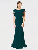 Midnight Green Mermaid Sheath Jewel Sleeveless Long Crepe Bridesmaid Dress Kaiya