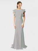 Oyster Silver Mermaid Sheath Jewel Sleeveless Long Crepe Bridesmaid Dress Kaiya