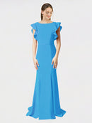 Peacock Blue Mermaid Sheath Jewel Sleeveless Long Crepe Bridesmaid Dress Kaiya
