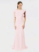 Pink Mermaid Sheath Jewel Sleeveless Long Crepe Bridesmaid Dress Kaiya