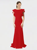 Red Mermaid Sheath Jewel Sleeveless Long Crepe Bridesmaid Dress Kaiya