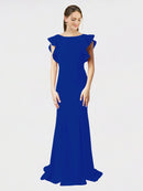 Royal Blue Mermaid Sheath Jewel Sleeveless Long Crepe Bridesmaid Dress Kaiya