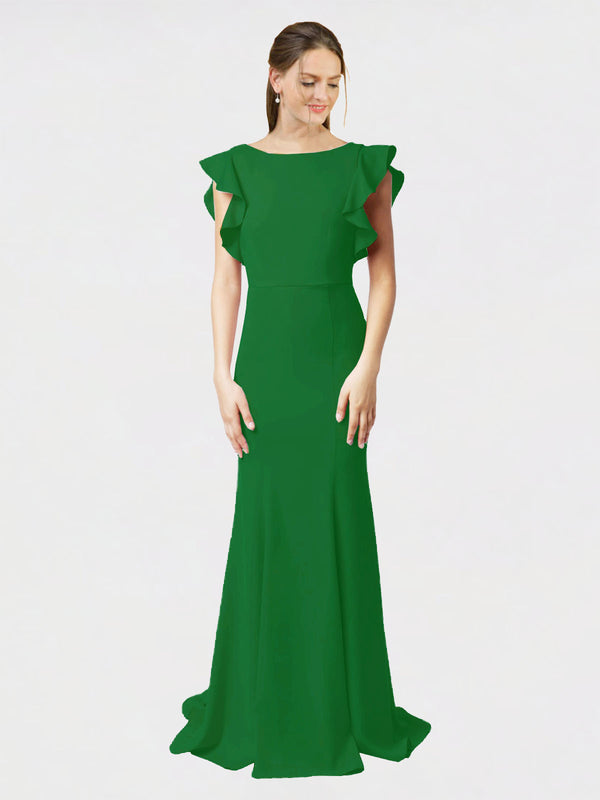 Shamrock Green Mermaid Sheath Jewel Sleeveless Long Crepe Bridesmaid Dress Kaiya