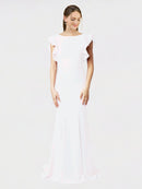 White Mermaid Sheath Jewel Sleeveless Long Crepe Bridesmaid Dress Kaiya