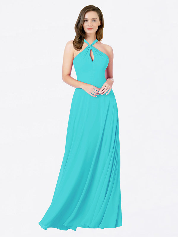 Mila Queen Chandler Bridesmaid Dress Aqua - A-Line Halter Bridesmaid Gown Chandler in Aqua