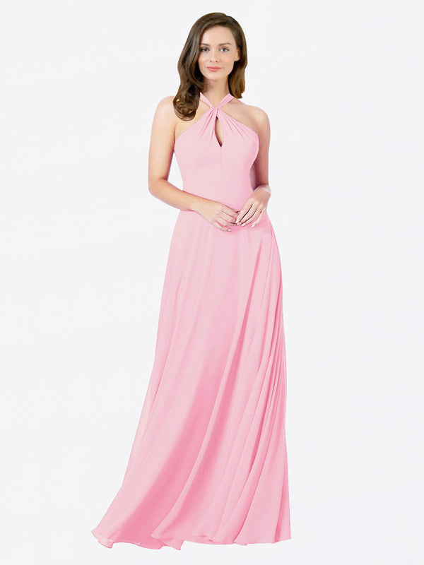 Mila Queen Chandler Bridesmaid Dress Barely Pink - A-Line Halter Bridesmaid Gown Chandler in Barely Pink
