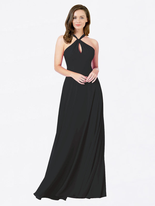 Mila Queen Chandler Bridesmaid Dress Black - A-Line Halter Bridesmaid Gown Chandler in Black
