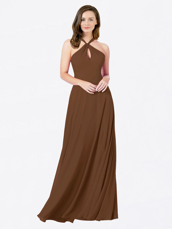 Mila Queen Chandler Bridesmaid Dress Brown - A-Line Halter Bridesmaid Gown Chandler in Brown