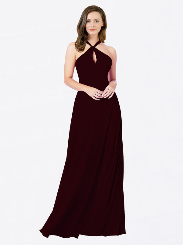 Mila Queen Chandler Bridesmaid Dress Burgundy Gold - A-Line Halter Bridesmaid Gown Chandler in Burgundy Gold