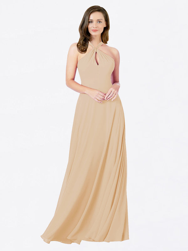 Mila Queen Chandler Bridesmaid Dress Champagne - A-Line Halter Bridesmaid Gown Chandler in Champagne