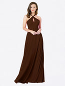 Mila Queen Chandler Bridesmaid Dress Chocolate - A-Line Halter Bridesmaid Gown Chandler in Chocolate