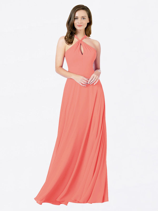 Mila Queen Chandler Bridesmaid Dress Coral - A-Line Halter Bridesmaid Gown Chandler in Coral