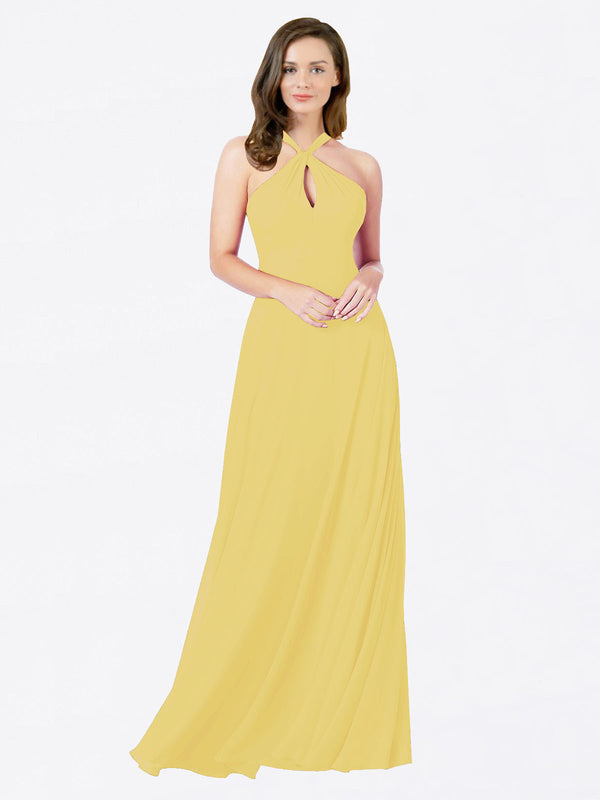 Mila Queen Chandler Bridesmaid Dress Daffodil - A-Line Halter Bridesmaid Gown Chandler in Daffodil