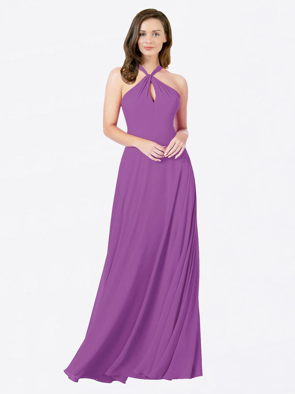 Mila Queen Chandler Bridesmaid Dress Dahlia - A-Line Halter Bridesmaid Gown Chandler in Dahlia